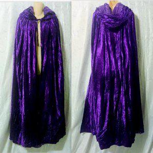 Handmade Purple VELVET Hooded Cloak Lined Cape